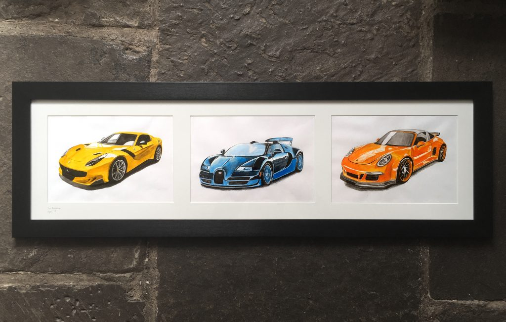 Supercar triptych commission for private clients (April 2017)
